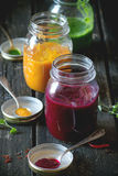 Assortment of vegetable smoothies Royalty Free Stock Photos