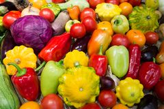 Assortment of vegetables. Cymbling, tomato, red paprika, cabbage, autumn harvest Royalty Free Stock Image