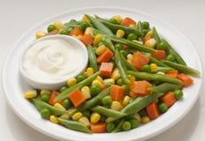 Assortment of vegetables. Carrot, corn, green beans stock photos