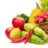 Assortment vegetables and fruits in basket Royalty Free Stock Photography