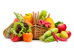 Assortment vegetables and fruits in basket Royalty Free Stock Image