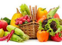 Assortment vegetables and fruits in basket Royalty Free Stock Photos