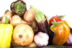 Assortment of vegetables isolated on white background Stock Images