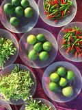 Assortment of veggies. A top view shot of selection of vegetables taken at a local market in Selangor Royalty Free Stock Image