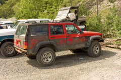 An assortment of vehicles used during the annual salmon run at chitina Royalty Free Stock Images