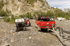 An assortment of vehicles used during the annual salmon run at chitina Royalty Free Stock Photos