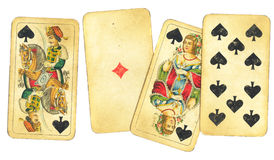 Assortment of Vintage Playing Cards. Various assortment of old, antique playing cards Royalty Free Stock Image