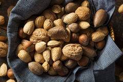 Assortment of Whole Raw Mixed Nuts Royalty Free Stock Photos