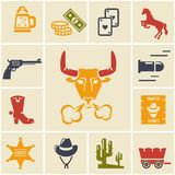 Assortment of Wild West Icons Stock Photos