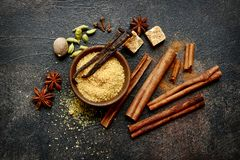 Assortment of winter spices.Top view with copy space stock image