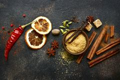 Assortment of winter spices.Top view with copy space royalty free stock photos