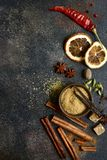 Assortment of winter spices.Top view with copy space royalty free stock photo
