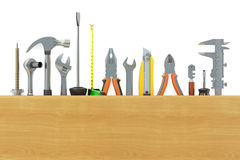 Assortment of work tools. 3D rendering Stock Images