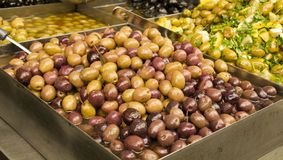 Assortments of Olives on the market Royalty Free Stock Images