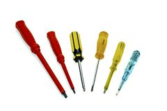 Assorts of Screwdrivers. View of six different screwdrivers on a plain background stock photo