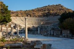 Assos古董圆形露天剧场 圆形露天剧场的废墟Assos古城的 Behramkale, Canakkale,土耳其 免版税库存图片