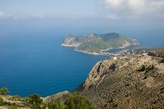 Assos小镇和港在海岛Kefalonia上的在希腊 免版税库存图片