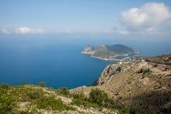 Assos小镇和港在海岛Kefalonia上的在希腊 免版税图库摄影