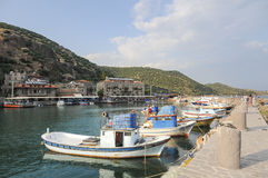 Assos (Behramkale) Ancient Harbor fishing ship Royalty Free Stock Images