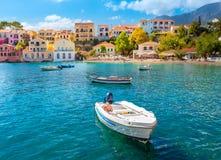 Assos Cephalonia Grekland Royaltyfria Bilder