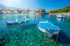 Assos i Kefalonia, Grekland Royaltyfria Foton