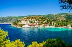 Assos on the Island of Kefalonia in Greece Stock Photos