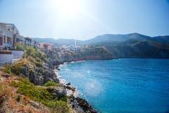 Assos på ön av Kefalonia i Grekland arkivbilder