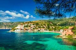 Assos på ön av Kefalonia i Grekland Arkivfoto