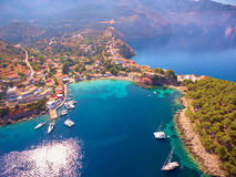 Assos village and his harbor from the sky Royalty Free Stock Photos