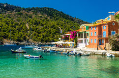 Assos village on the Island of Kefalonia in Greece Stock Photos