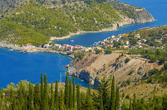 Assos village in Kefalonia island from distance. Kefalonia island, Greece Stock Image