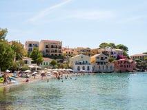 Assos village in Kefalonia island, Greece. ASSOS - KEFALONIA, 20 AUGUST 2016: Assos village with small port and traditional houses Stock Photo