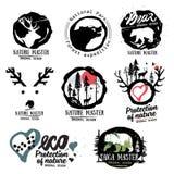 assosiated徽标本质夏天 森林商标标志的野生野兽 室外标志略写法 北方针叶林商标标志 库存照片