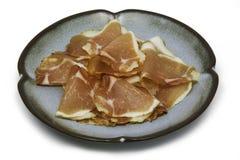 Assottigli il prosciutto di Parma affettato Fotografia Stock Libera da Diritti