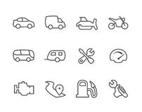 Assottigli le icone automatiche allineate illustrazione vettoriale