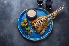 Assouvissez ou ayam satay - les brochettes de poulet avec de la sauce à arachide, placent pour le libellé photographie stock libre de droits
