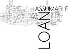 Assumable Loans And Resale Value Word Cloud. ASSUMABLE LOANS AND RESALE VALUE TEXT WORD CLOUD CONCEPT stock illustration