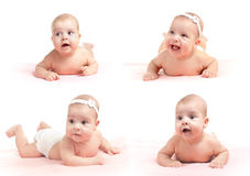 Assume l'accumulazione dell'infante sorridente isolata Fotografie Stock