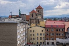 Klodzko in Poland. Assumption of Blessed Virgin Mary Church on the Old Town of Klodzko, Poland Stock Photography