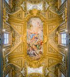 `Assumption` by Calandrucci in the vault of the Church of Santa Maria dell`Orto, in Rome, Italy. stock photography