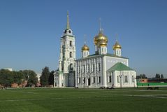 Assumption Cathedral and the bell tower of the Tula Kremlin royalty free stock photography