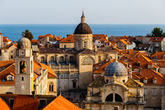 Assumption Cathedral, Church of Saint Blaise and Bell Tower in the old part in Dubrovnik, Croatia Royalty Free Stock Images