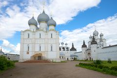 Assumption Cathedral in the Kremlin of Rostov Veliky in the cloudy afternoon. Golden Ring of Russia Stock Photography