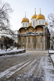 Assumption Cathedral of Moscow Kremlin in a cold winter day Royalty Free Stock Images