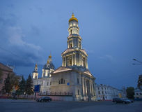 Assumption Cathedral at night, Kharkiv. Stock Photo