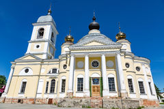 Assumption Cathedral in the Russian city of Myshkin. MYSHKIN, RUSSIA - JUNE 18, 2017: The facade of the Cathedral of the Assumption of the Mother of God. Founded Stock Image