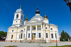 Assumption Cathedral in the Russian city of Myshkin. MYSHKIN, RUSSIA - JUNE 18, 2017: The facade of the Cathedral of the Assumption of the Mother of God. Founded Stock Photos