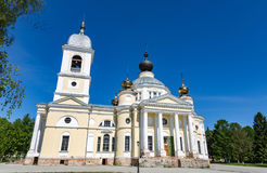 Assumption Cathedral in the Russian city of Myshkin. MYSHKIN, RUSSIA - JUNE 18, 2017: The facade of the Cathedral of the Assumption of the Mother of God. Founded Royalty Free Stock Photography