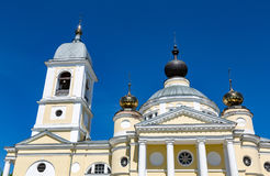 Assumption Cathedral in the Russian city of Myshkin. MYSHKIN, RUSSIA - JUNE 18, 2017: The facade of the Cathedral of the Assumption of the Mother of God. Founded Royalty Free Stock Photo