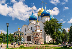 Assumption Cathedral in Sergiyev Posad near Moscow. SERGIYEV POSAD, RUSSIA - JUNE 28, 2011: Assumption Cathedral in Trinity Sergius Lavra near Moscow. The stock image